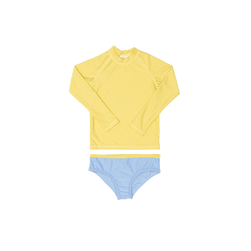 Yellow Rashie and Blue Swim Brief