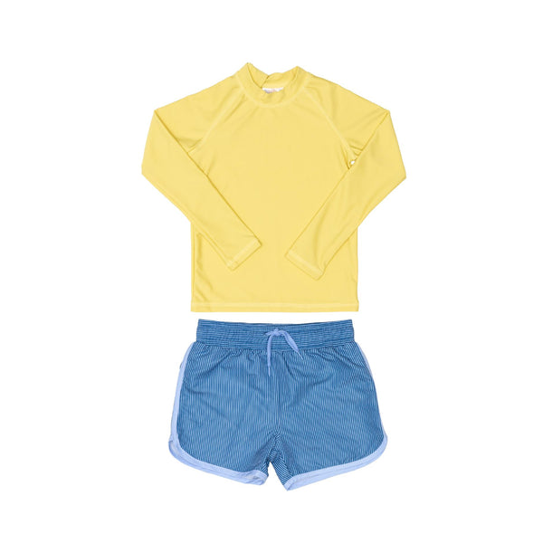 Yellow Rashie and Blue Swim Shorts