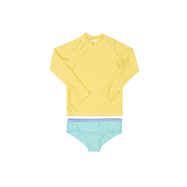 Yellow Rashie and Green Swim Brief