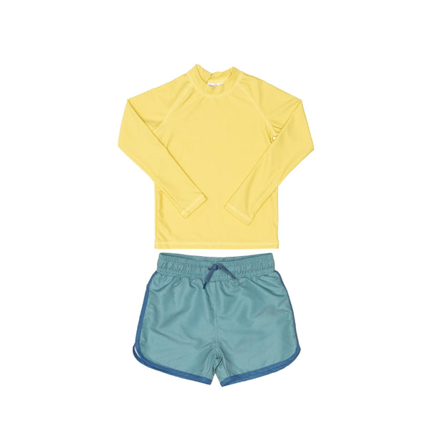 Yellow Rashie and Green Swim Shorts