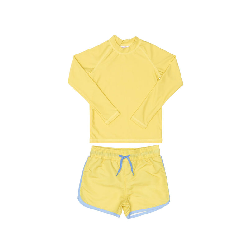 Yellow Rashie and Yellow Swim Shorts