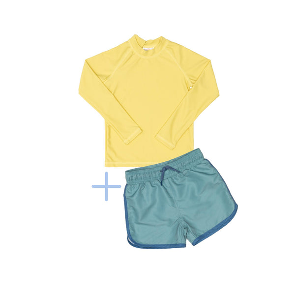 Yellow Rashie Plus Green Swim Shorts