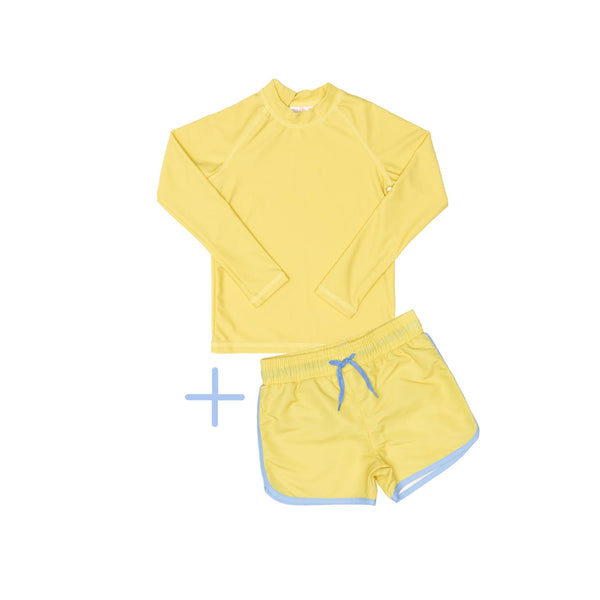 Yellow Rashie Plus Yellow Swim Shorts