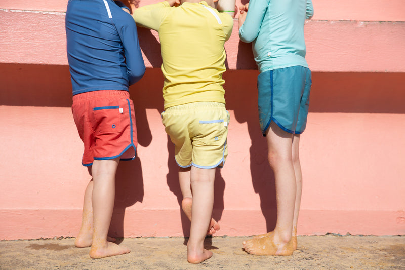 Boys Wearing Swim Shorts in Green - Yelllow  and Red