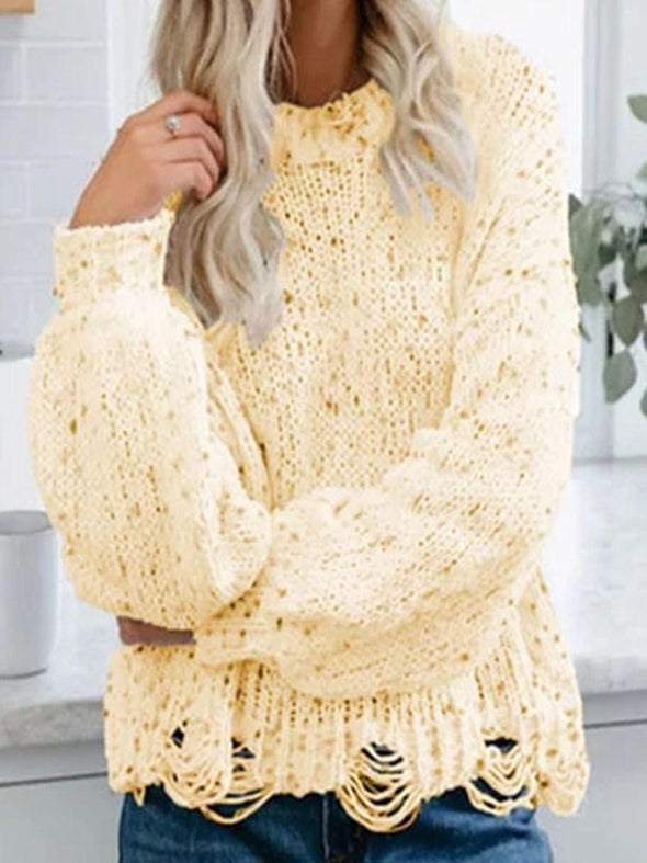 Pull Femme Evidement Standard Manches Longues