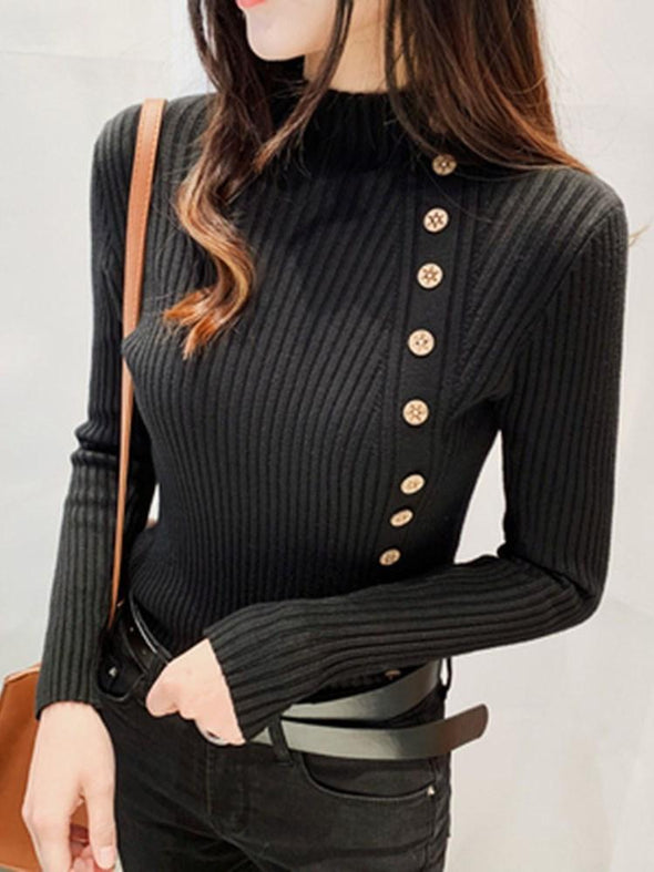 Pull Femme Bouton Standard Automne Manches Longues