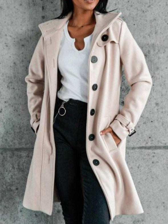 Manteau Femme Unique à Poitrine Slim Revers Mi-Longs