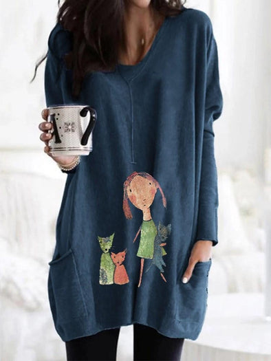 Sweat-shirt Femme Imprimé Standard Cartoon Animation V-Col Mi-Longs