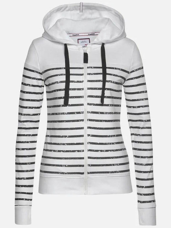 Sweat-shirt Femme Rayure Zip Standard Hiver Manches Longues