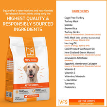 Load image into Gallery viewer, VFS Active Joints arthritis hip & joint dog food natural ingredients list.