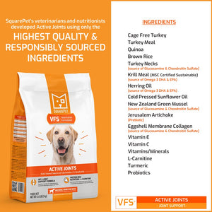 VFS Active Joints arthritis hip & joint dog food natural ingredients list.