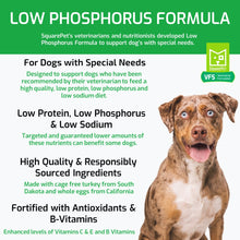 Load image into Gallery viewer, Veterinarian Formulated Solutions low phosphorus dog food for kidney care features and benefits.