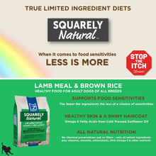 Squarely Natural limited ingredient dog food features and benefits.