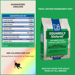 Squarely Natural limited ingredient dog food guaranteed analysis.