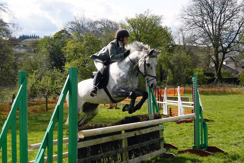 Rider showing jumping during horse riding event | Equestrian Sports