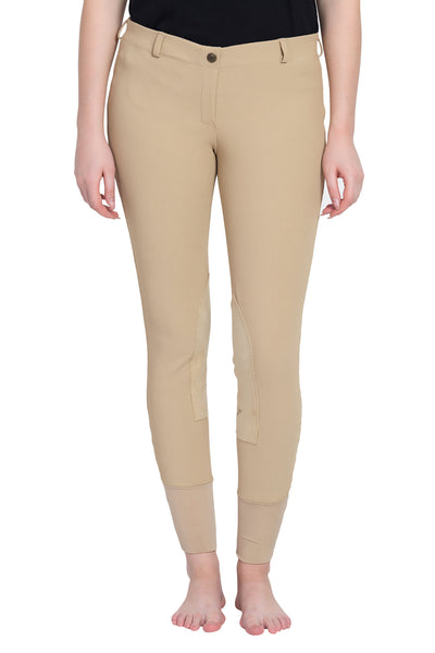 TuffRider Ladies Ribb Lowrise Pull-On Knee Patch Breeches - TuffRider - Breeches.com