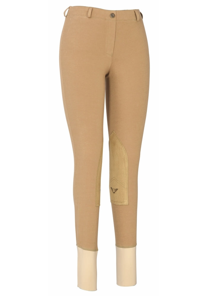 Ladies Cotton Lowrise Pull-On Knee Patch Breeches - TuffRider - Breeches.com