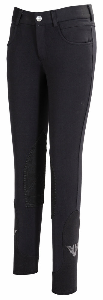 TuffRider Children's Wellesley Knee Patch Breeches w/ Contoured sock bottom (CSB) - Breeches.com
