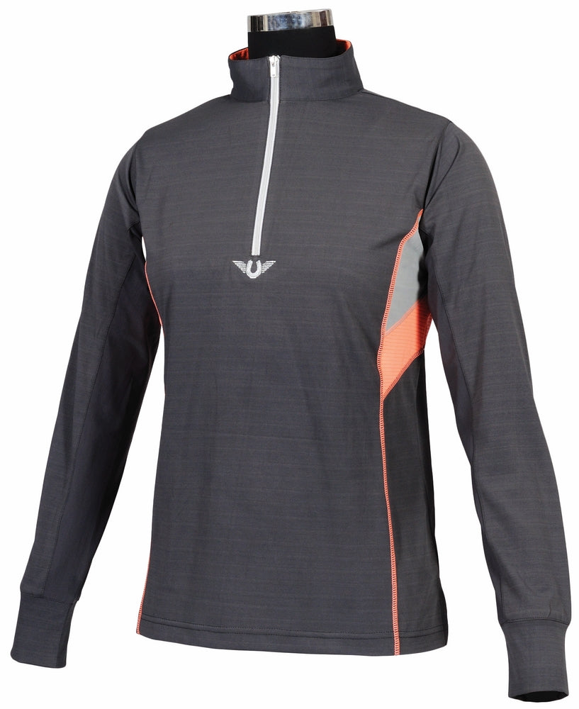 TuffRider Ladies Neon Ventilated Mock Zip Long Sleeve Sport Shirt - TuffRider - Breeches.com