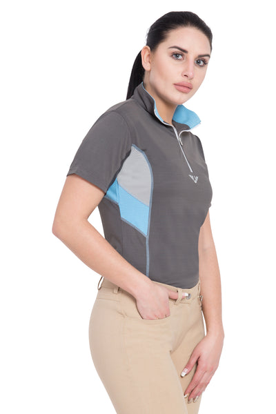 TuffRider Ladies Neon Ventilated Mock Zip Short Sleeve Sport Shirt - Breeches.com