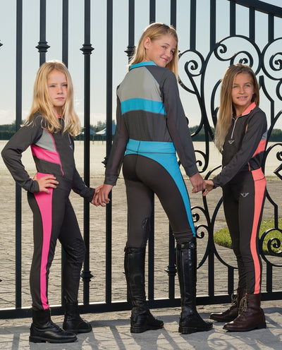 TuffRider Children's Neon Ventilated Mock Zip Long Sleeve Polo - Breeches.com