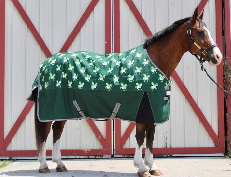TuffRider 1200D Ripstop 220 GMS Polyfill Pony Horse Print Standard Neck Two Tone Turnout Blanket - Breeches.com
