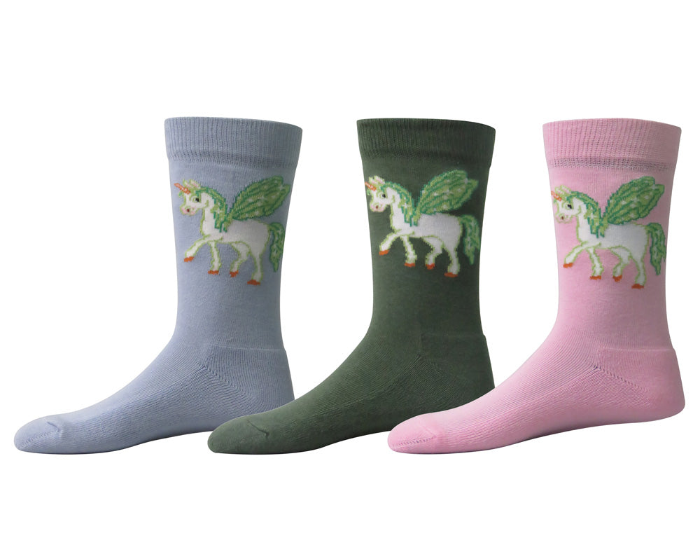 TuffRider Unicorn Kids Socks - 3 Pack - Breeches.com