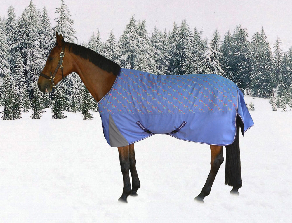 1200D Ripstop Turnout Blanket with 220gms Medium Weight - Adorable Horse Pony Print - Breeches.com