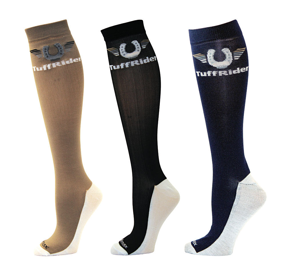 TuffRider Ladies Coolmax Knee Hi Boot Socks - 3 Pack - Breeches.com
