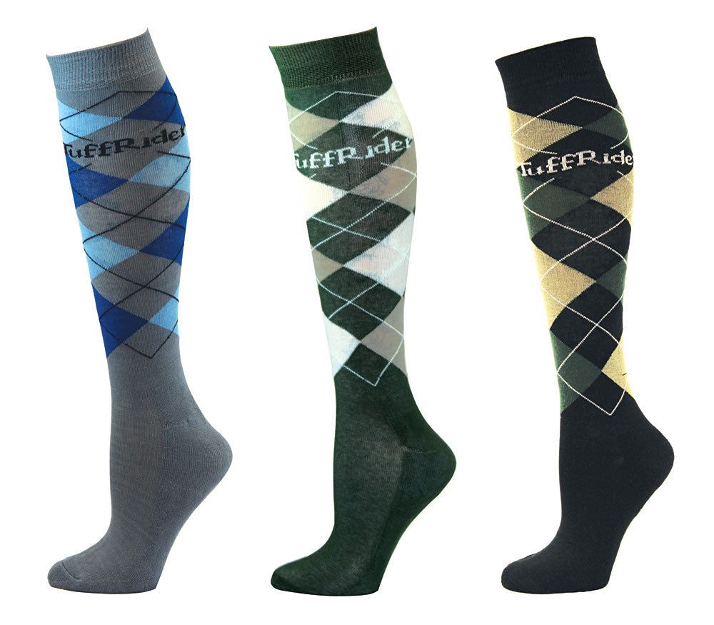 TuffRider Ladies Argyle Knee Hi Socks - 3 Pack - Breeches.com