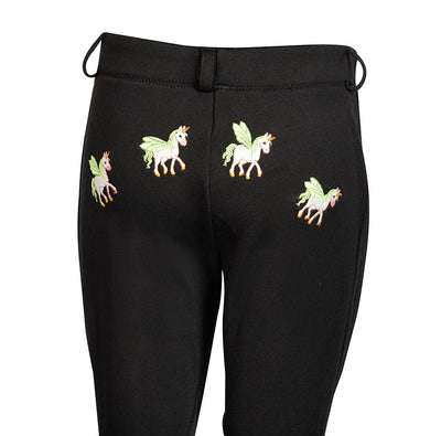 TuffRider Children's Unicorn Unifleece Pull-On Stretch Fleece Knee Patch Winter Jodhpurs - Breeches.com