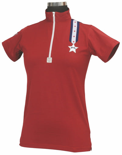 Equine Couture Ladies Stars & Stripes Short Sleeve Polo - Breeches.com