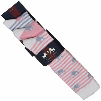 Equine Couture Ladies Whales Bamboo Knee Hi Socks - 3 Pack_2