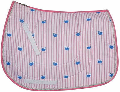 Equine Couture Stripe Whales Pony Saddle Pad - Equine Couture - Breeches.com