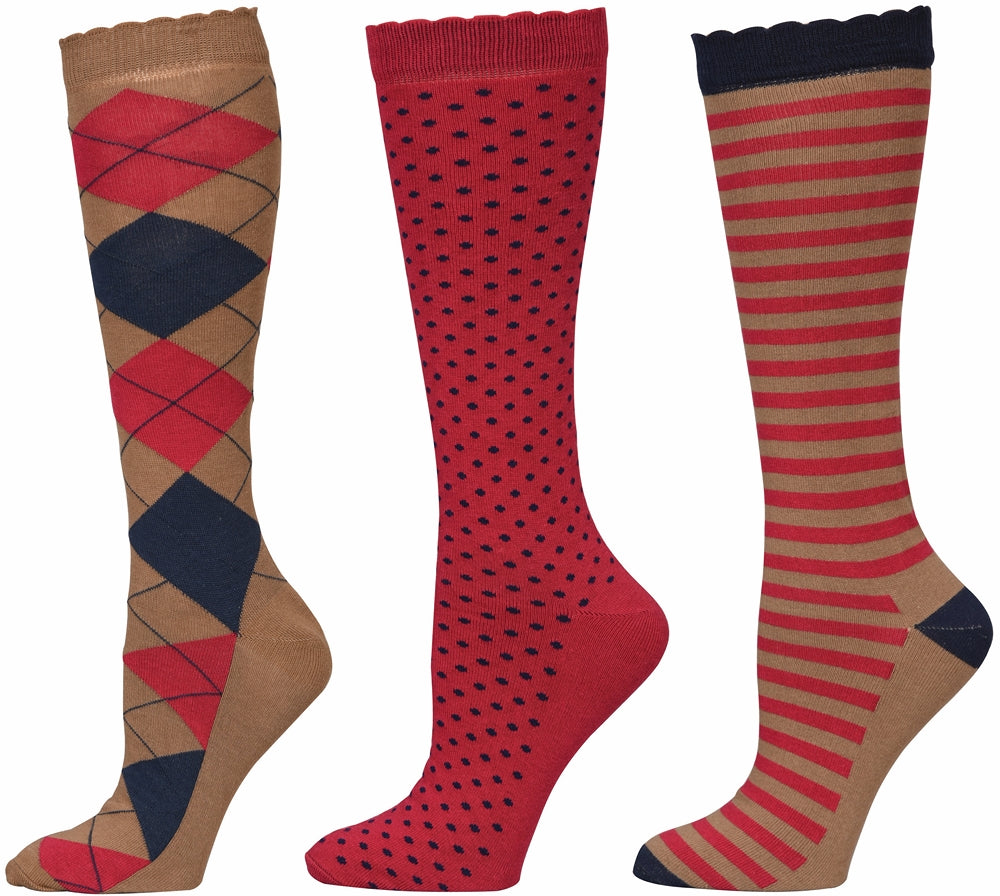 Equine Couture Ladies Raspberry Medley Knee Hi Socks - 3 Pack - Equine Couture - Breeches.com