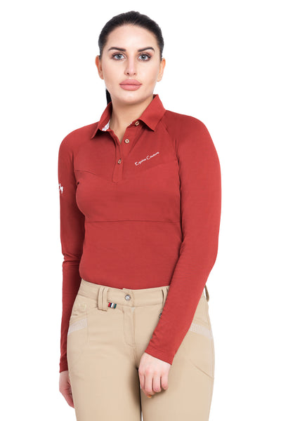 Equine Couture Ladies Performance Long Sleeve Polo Sport Shirt_7