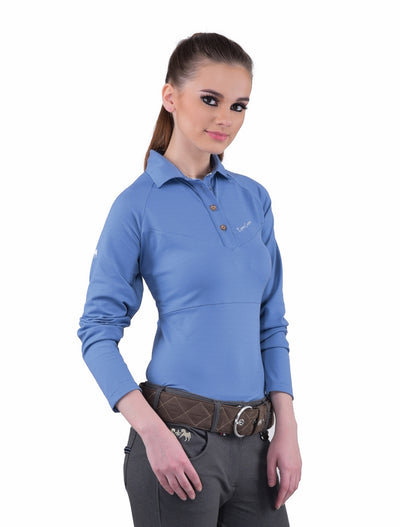 Equine Couture Ladies Performance Long Sleeve Polo Sport Shirt_16