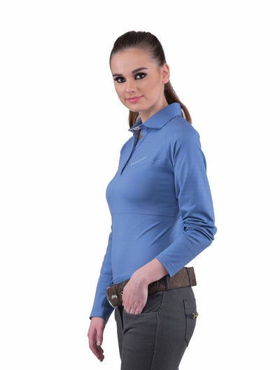 Equine Couture Ladies Performance Long Sleeve Polo Sport Shirt_17