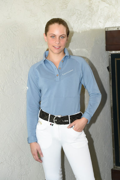 Equine Couture Ladies Performance Long Sleeve Polo Sport Shirt_19