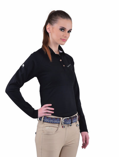 Equine Couture Ladies Performance Long Sleeve Polo Sport Shirt_22
