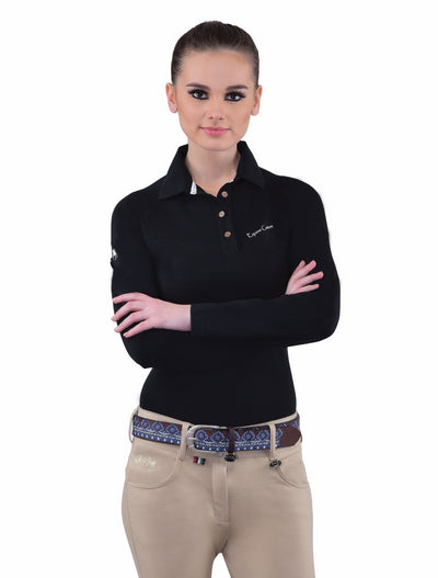 Equine Couture Ladies Performance Long Sleeve Polo Sport Shirt_21