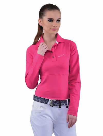 Equine Couture Ladies Performance Long Sleeve Polo Sport Shirt_26