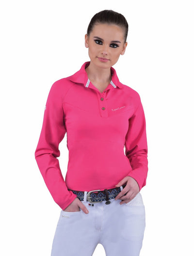 Equine Couture Ladies Performance Long Sleeve Polo Sport Shirt_25