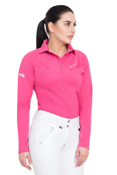 Equine Couture Ladies Performance Long Sleeve Polo Sport Shirt_27