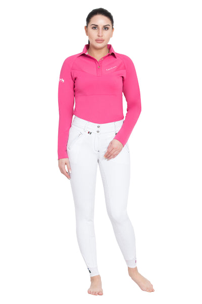 Equine Couture Ladies Performance Long Sleeve Polo Sport Shirt_29