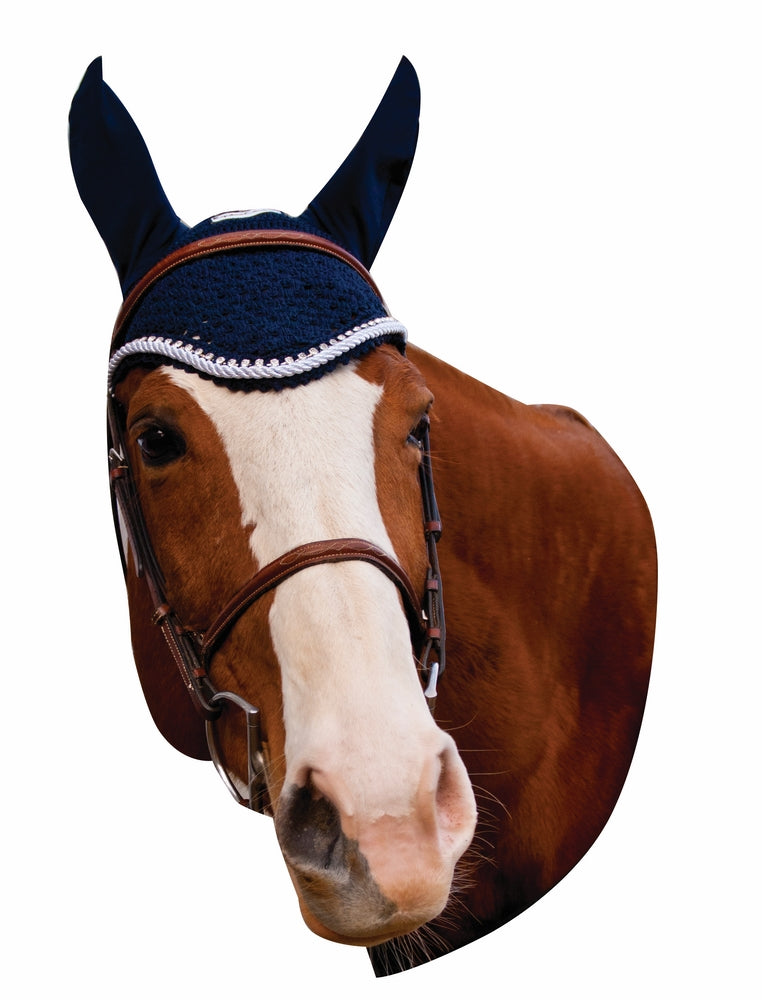 Equine Couture Fly Bonnet with Silver Rope & Crystals - Equine Couture - Breeches.com
