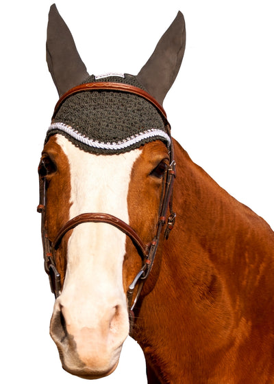 Equine Couture Fly Bonnet with Silver Rope & Crystals - Breeches.com