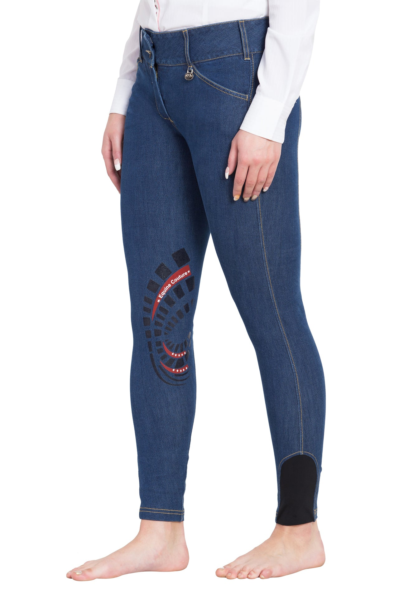 Equine Couture Ladies Calabasas Printed Silicone Patch Denim Jeans - Equine Couture - Breeches.com