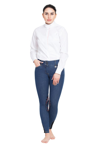 Equine Couture Ladies Calabasas Printed Silicone Patch Denim Breeches - Equine Couture - Breeches.com
