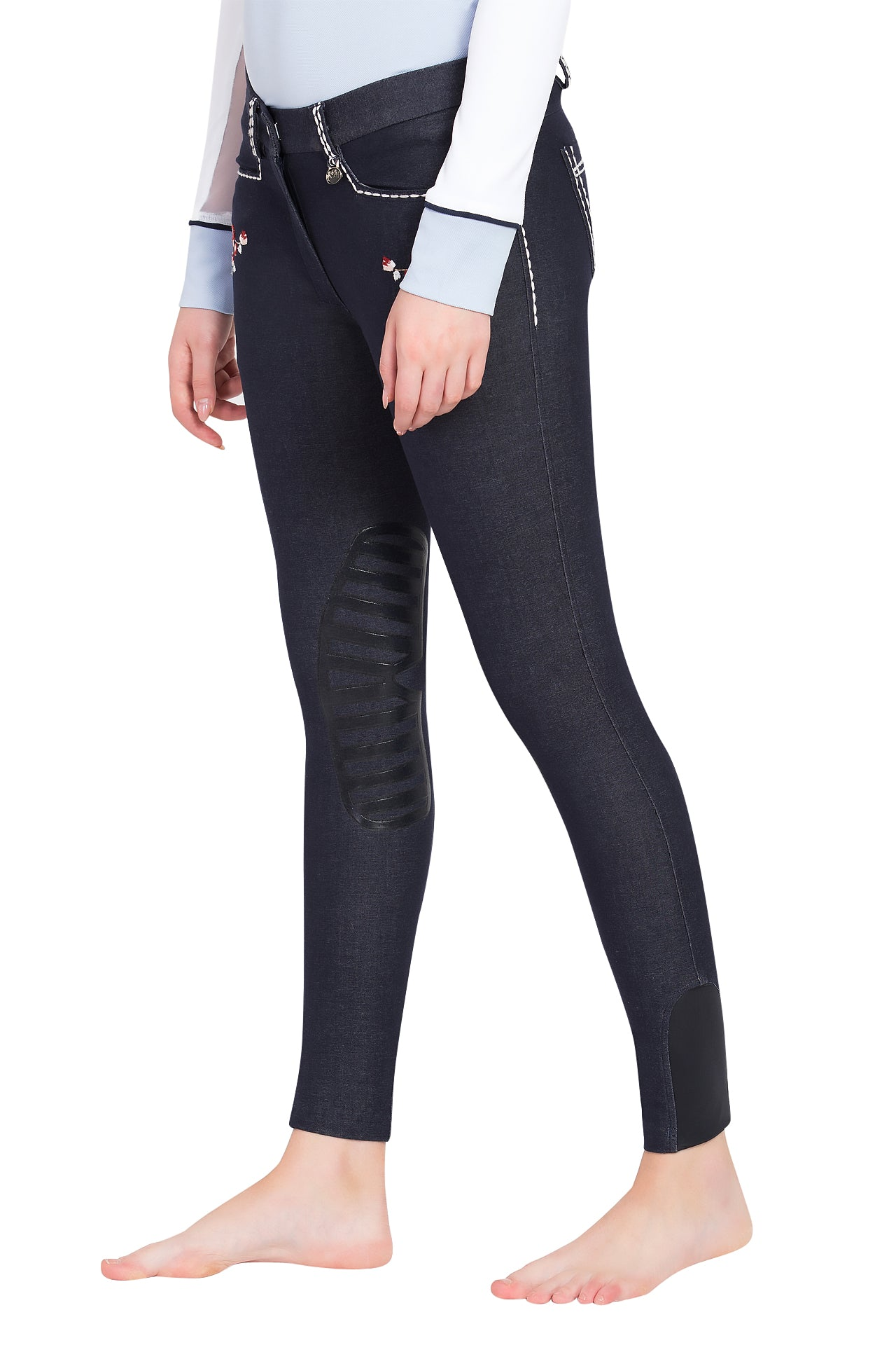 Equine Couture Ladies Alice Denim Embroidered Breeches - Equine Couture - Breeches.com